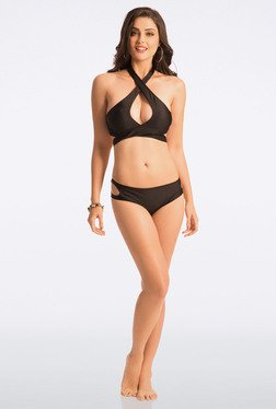 Pretty Secrets Black Cross Wrap Bikini Set