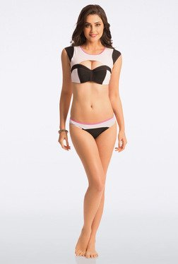Pretty Secrets Black & White Crop Top Bikini Set