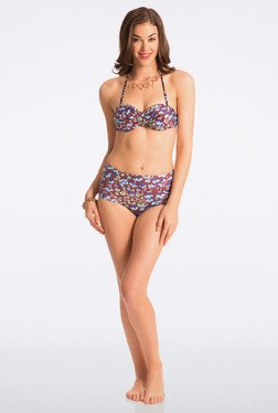 Pretty Secrets Brown Floral High-Waist Bikini Set