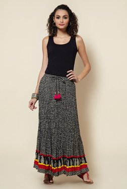 Zudio Black Printed Cotton Maxi Skirt