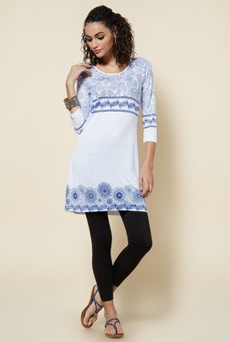 Zudio White Floral Printed Slim Fit Kurti