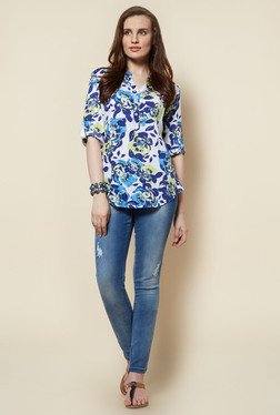Zudio White Floral Printed Gabby Blouse
