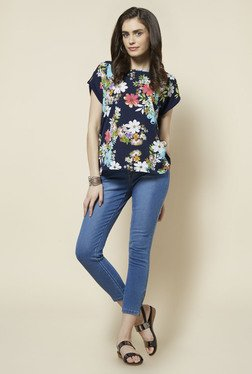 Zudio Navy Floral Printed Tally Top