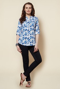 Zudio White Floral Printed Cora Blouse
