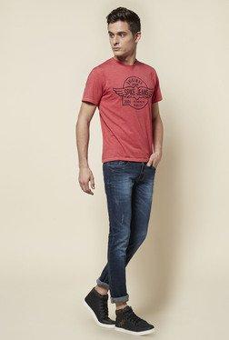 Zudio Coral Printed Crew Neck T Shirt