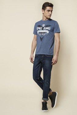Zudio Indigo Printed Crew Neck T Shirt