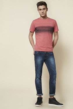 Zudio Coral Crew Neck T Shirt