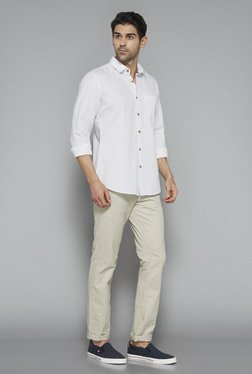 Westsport Mens White Printed Slim Fit Shirt