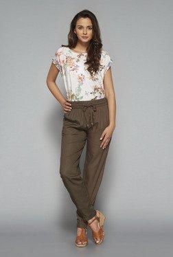 LOV Beige Floral Printed T Shirt