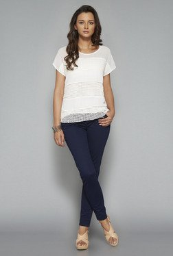 LOV White Round Neck Embroidered Blouse