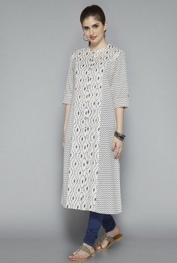 Utsa Beige Cotton Printed Kurta
