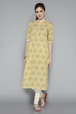 Utsa Yellow Floral Printed Cotton Kurta