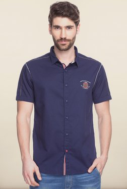 Spykar Navy Solid Shirt