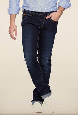 Spykar Dark Blue Washed Slim Fit Jeans