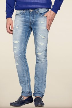 Spykar Light Blue Distressed Skinny Fit Jeans