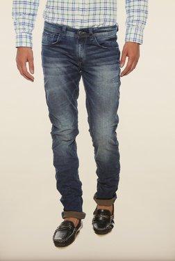Spykar Blue Distressed Skinny Fit Denim Jeans