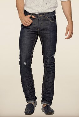 Spykar Blue Tattered Skinny Fit Jeans