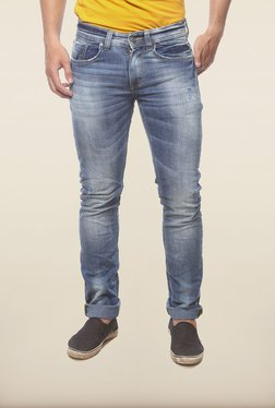 Spykar Blue Washed Distressed Denim Jeans