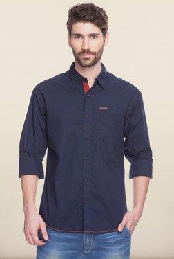 Spykar Navy Solid Casual Shirt
