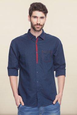 Spykar Navy Solid Cotton Shirt