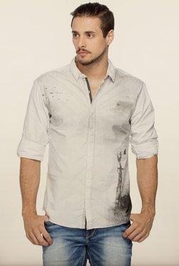 Spykar White Printed Regular Fit Casual Shirt