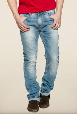 Spykar Blue Destressed Slim Fit Denim Jeans