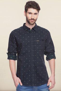 Spykar Black Printed Regular Fit Casual Shirt