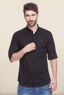 Spykar Black Solid Casual Shirt
