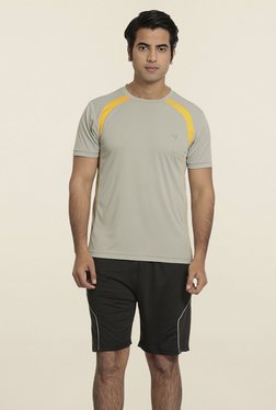 Seven Grey & Yellow Solid T-Shirt