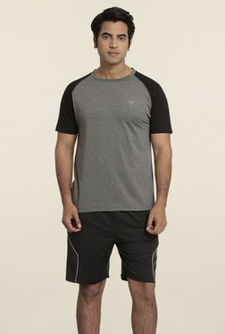 Seven Grey & Black Solid T-Shirt