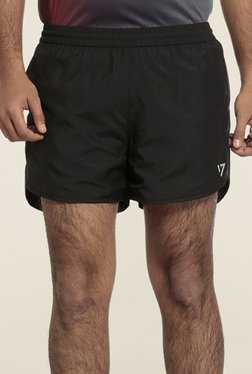 Seven Black Polyester Sports Shorts