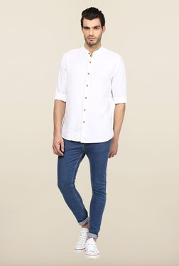 Turtle White Self Design Casual Shirt