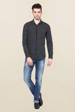 Turtle Black Striped Khadi Casual Shirt