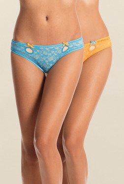 Pretty Secrets Blue & Yellow Bikini Panties (Pack Of 2)