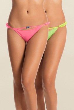 Pretty Secrets Pink & Green Thongs (Pack Of 2)