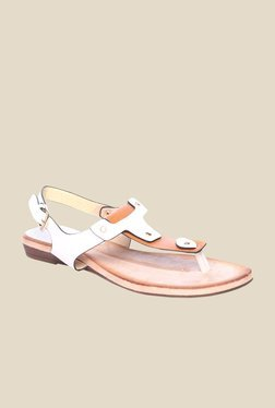 Pavers England White & Tan Back Strap Sandals