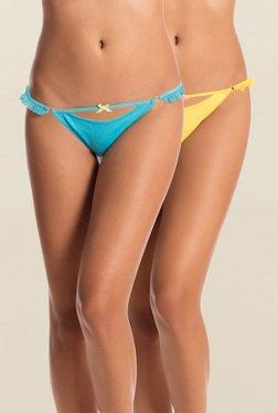 Pretty Secrets Blue & Yellow Thongs (Pack Of 2)