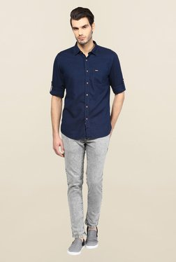 Turtle Navy Solid Casual Shirt - Mp000000000224878