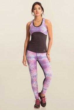 Pretty Secrets Purple Geometric Print Workout Leggings
