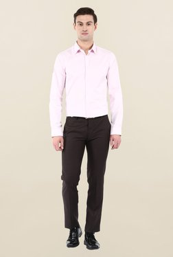 Turtle Dark Brown Striped Formal Trouser