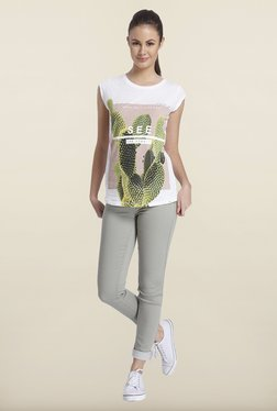 Only White Graphic Printed Cotton T-shirt