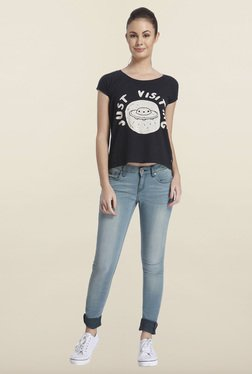 Only Black Graphic Printed Cotton T-shirt