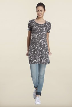 Only Dark Gray Printed Cotton Top