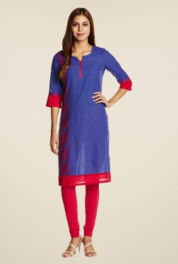 Aurelia Royal Blue Printed Kurta