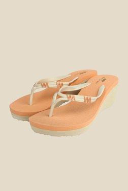 Spunk Poppy Beige & Orange Wedge Heeled Slippers