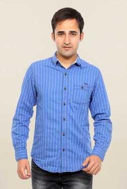 Mufti Blue Striped Full Sleeves Shirt