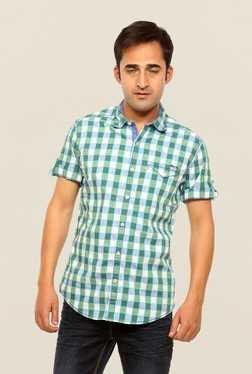 Mufti Green Checks Slim Fit Shirt