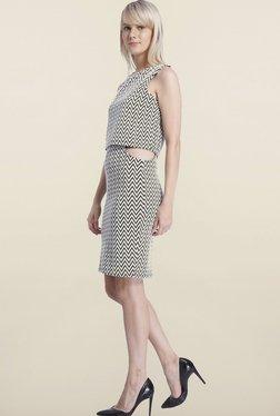 Vero Moda White Chevron Printed Dress