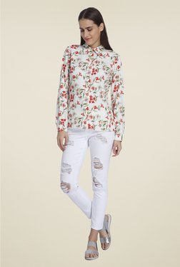 Vero Moda White Printed Casual Shirt