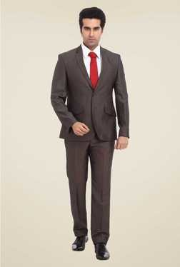 Park Avenue Brown Solid Formal Suit